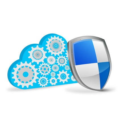 social security: Cloud of gears with a shield