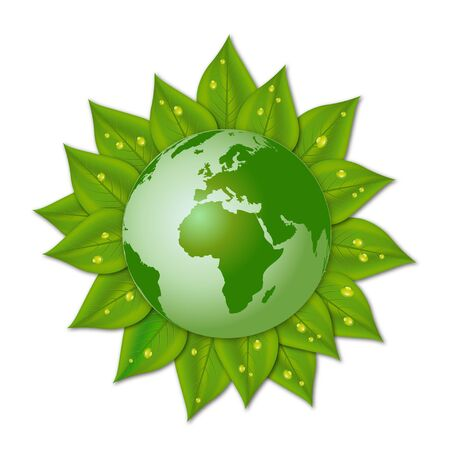 Illustration of green leaves surrounding a globe Vector