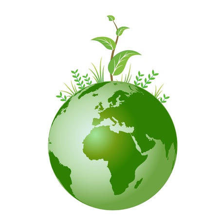 A green globe with plants growing Illustration