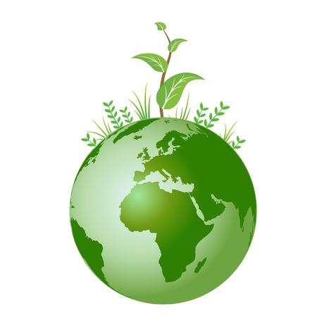 wereldbol groen: Het beeld werd gemaakt door de Illustrator van de Adobe
