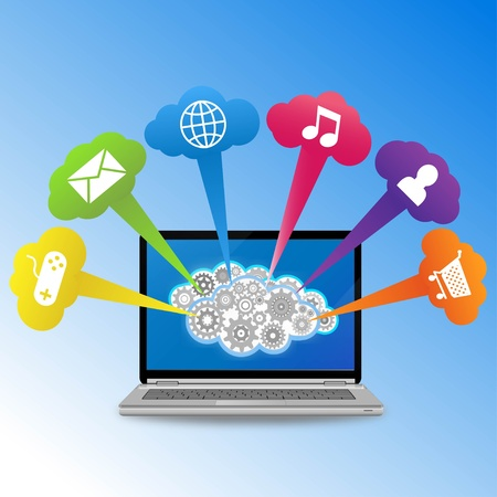 Illustration of laptop and various icons