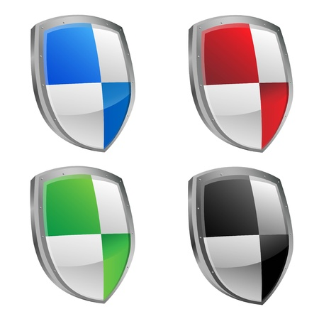 Illustration of various shield colors Vector