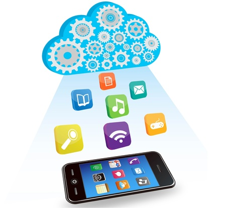 Cloud of gears with various icons above a smartphone Vector
