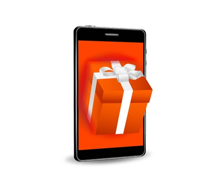 Illustration of a gift box and a smartphone Stock Vector - 12270264