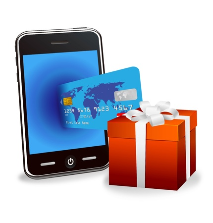 e card: Illustration of a gift box and a smartphone and a credit card