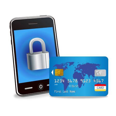 Illustration of a smartphone and credit card Vector