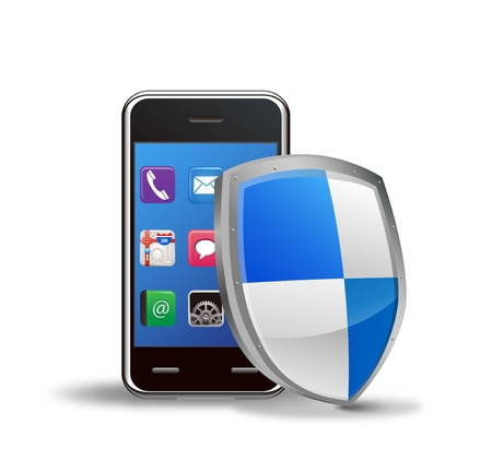 Illustration of a smartphone and a shield  Stock Vector - 12270260