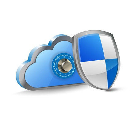 Illustration of a cloud with a shield