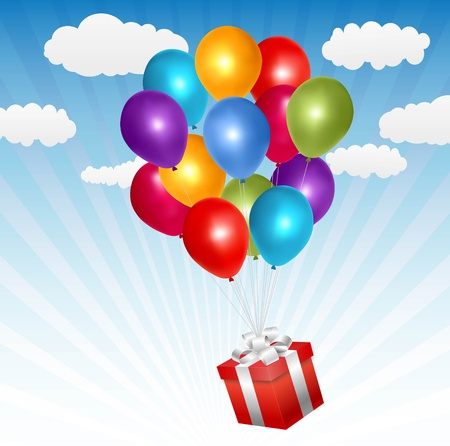 balloon and present  Vector