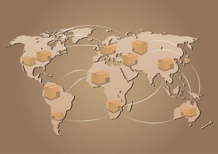 グローバルの送料  イラスト・ベクター素材