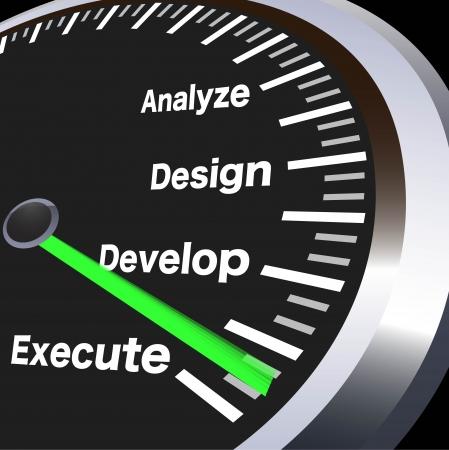 negocios motivative velocímetro Ilustración de vector
