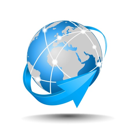 globe arrow: mail Illustration