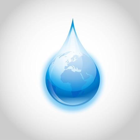 地球を象徴する水ドロップ