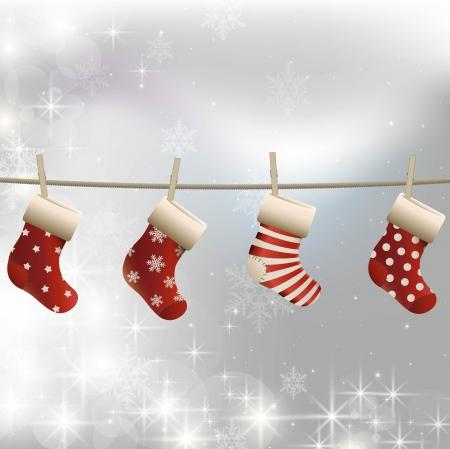 Illustration of christmas stockings hanging on a string Illustration