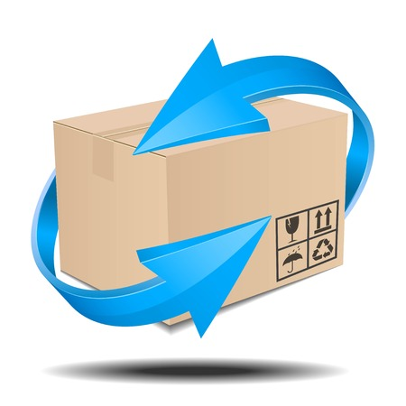Illustration of a brown box with arrows