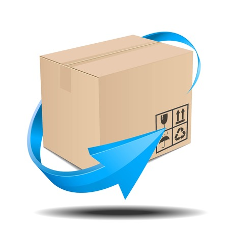 Illustration of brown box with an arrow Ilustração