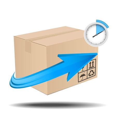 Illustration of brown box with arrow and timer