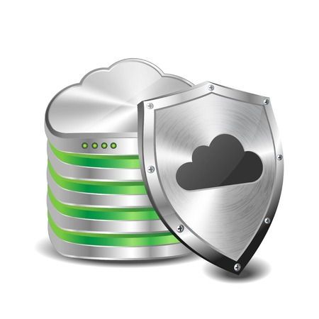 Illustration of a cloud server and a shield