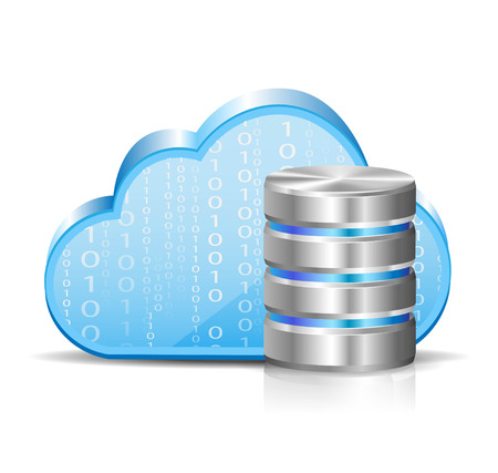 Illustration of a cloud server and a cloud Ilustrace