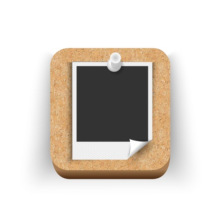 Illustration of a polaroid picture pinned on a cork board  Vector