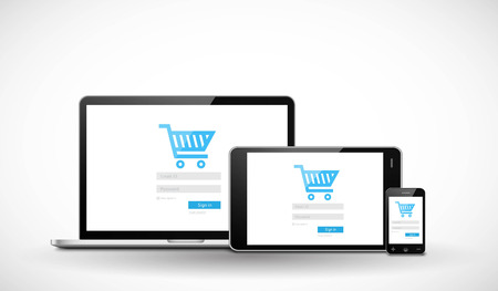 Responsive ecommerce web template Vector