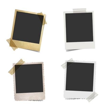 vintage retro frame: Old empty photo frame with tape Illustration