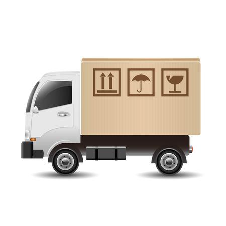 Levering vrachtwagen met kartonnen doos
