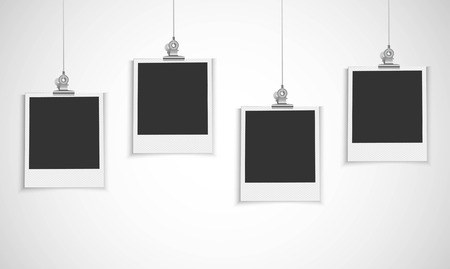 grunge photo frame: Photo frame bianco con la clip bulldog Vettoriali
