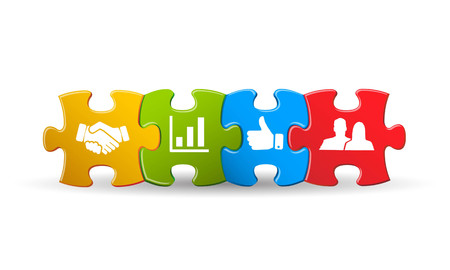 Puzzle with business icon