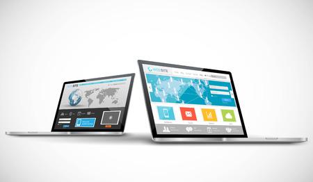 web site design: Laptop computer with responsive web design