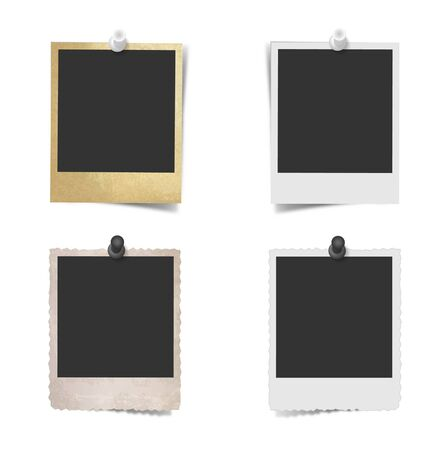 paper pin: Blank photo frame with pushpin on wall Illustration