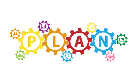 Gear icon with plan text Stock Illustratie
