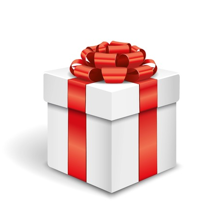 white boxes: Gift box with red bow Illustration
