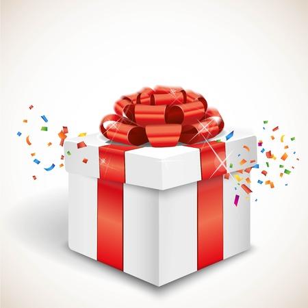 Geschenkdoos en confetti Stock Illustratie