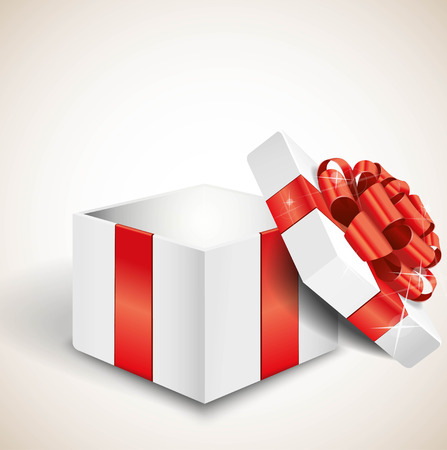red ribbon bow: Opened white gift box with red bow