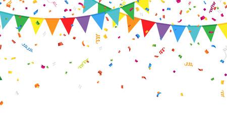 white  background: Banderas del partido y confeti