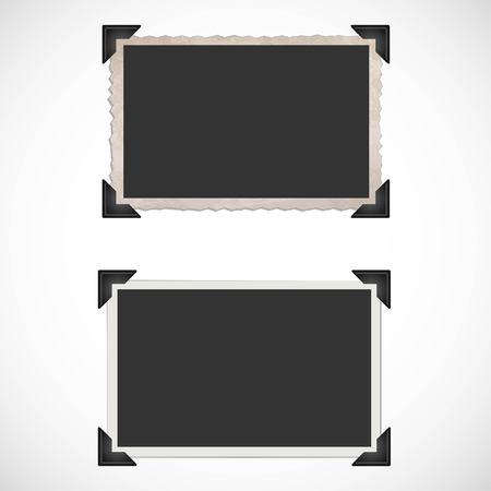 photo album page: Blank Old Photo Frames and Corners Illustration