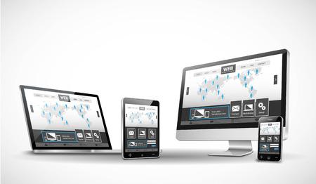 Múltiples Dispositivos y Sitio Web Foto de archivo - 45631031
