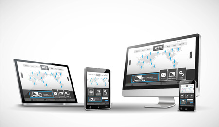Multiple Devices and Website Vettoriali