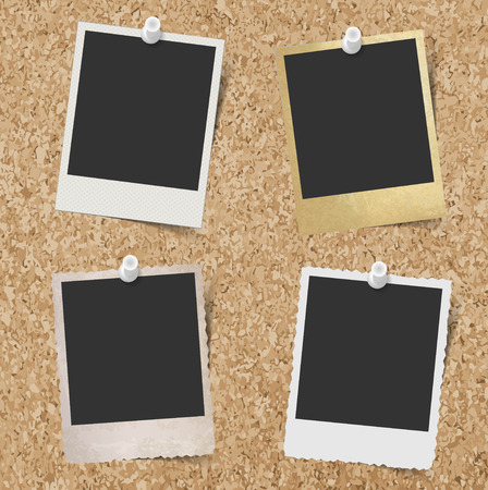 polaroid: Blank instant photo frames pinned to cork board background