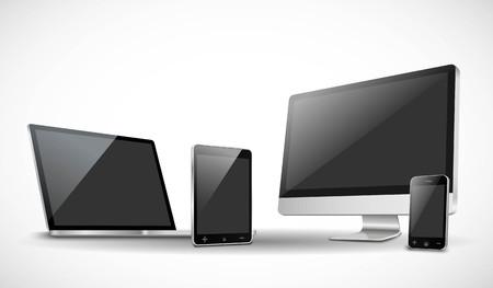 Stel realistische vector laptop, tablet, smartphone en desktop Stock Illustratie