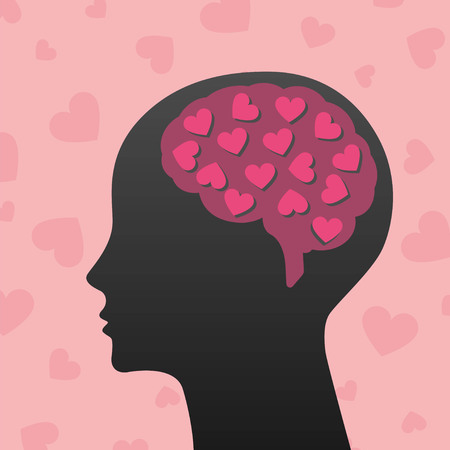 human head: Silhouette of human head with pink hearts Illustration