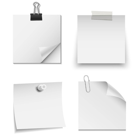 paper notes: Set of white paper notes with paper clip, tape, and pin