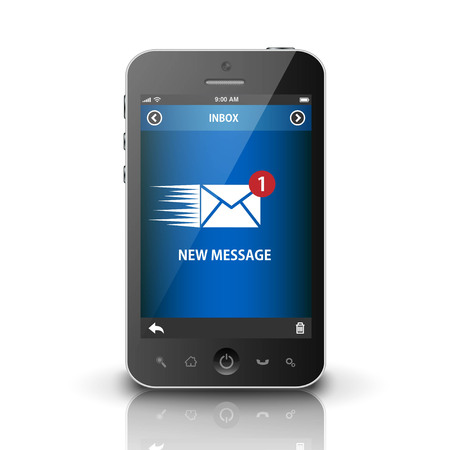 phone message: Smartphone with new message on a screen