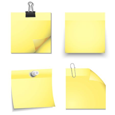 note: Yellow sticky blank notes with office supplies