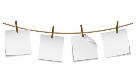 post it note: Blank white paper hanging on clothesline with clothespin