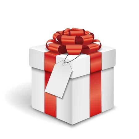 boite carton: Coffret cadeau avec un badge sur fond blanc