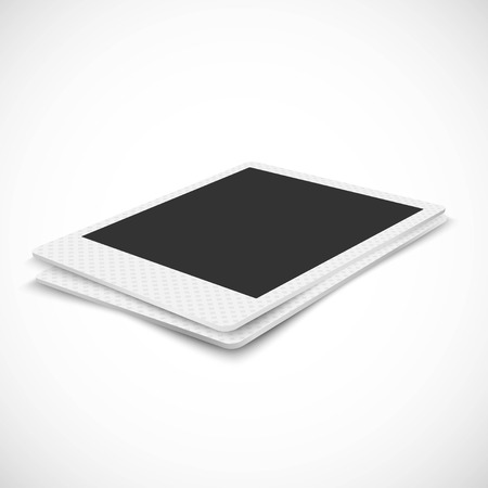 angled: Blank photo frame in perspective on white background Illustration