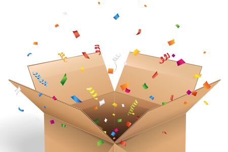 surprise box: Empty cardboard box opened with confetti