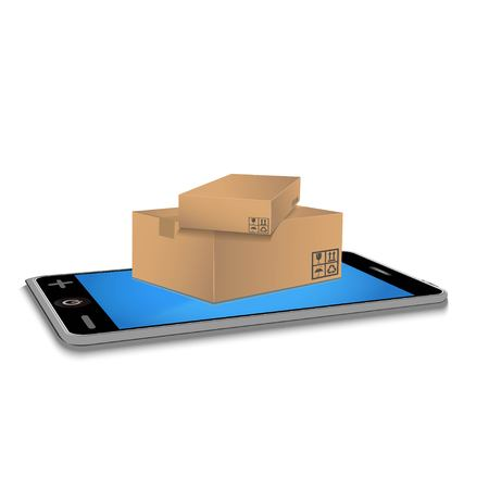 Cardboard boxes on smartphone